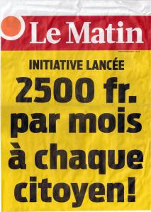 manchette journal Le matin initiative revenu e base inconditionnel
